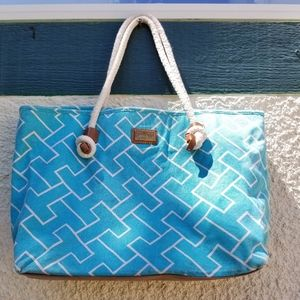 Tommy Hilfiger blue and white TH canvas tote